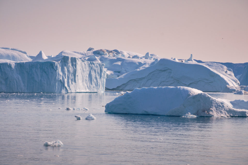 Enormous icebergs block the mount of the Ilulissat Icefjord  - Sarfaq Ittuk - West Greenland