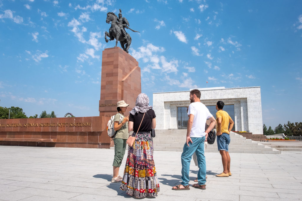 Ala-Too square with the National History Museum and the statue of Manas - Bishkek History Tour - Kyrgyzstan