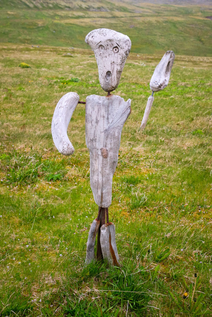 One of the driftwood sculptures at Hornbjargsviti lighthouse