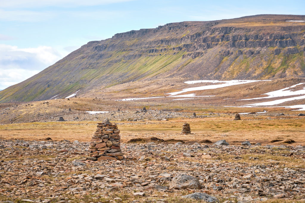 So many stone cairns leading the way to Hesteryi - Hornstrandir - Iceland