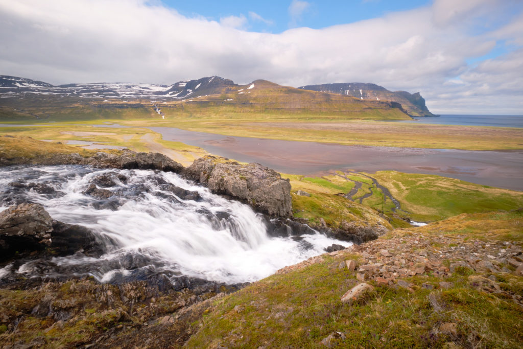 Waterfall and view on the descent from the pass from Hornbjargsviti to Horvik  - Hornstrandir -Iceland
