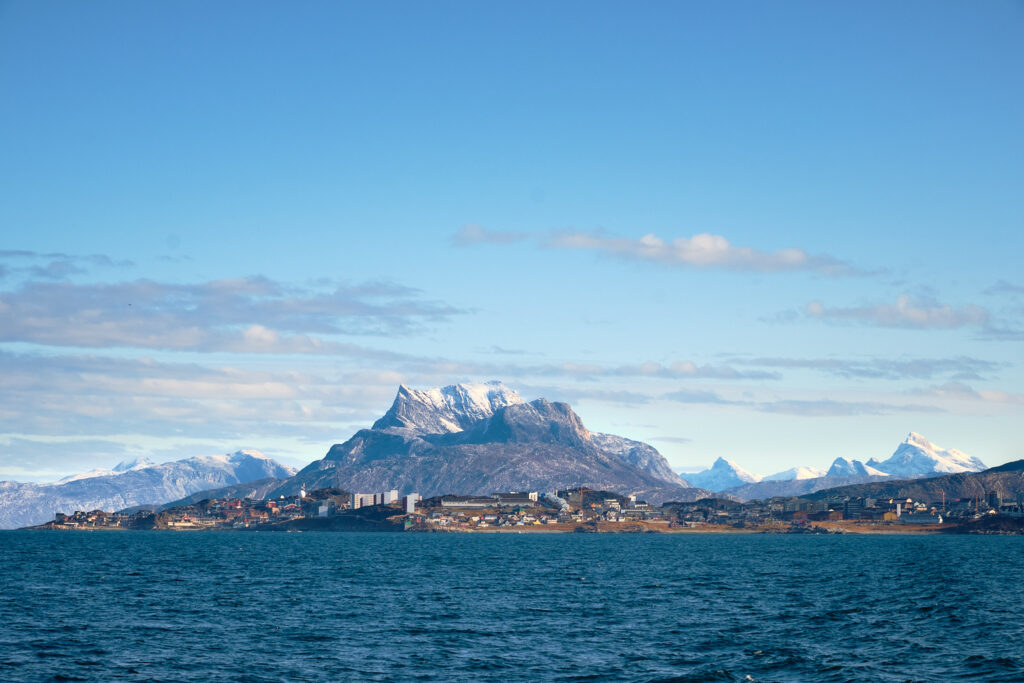 Nuuk city and Sermitsiaq Mountain as you head to Kangeq-Greenland