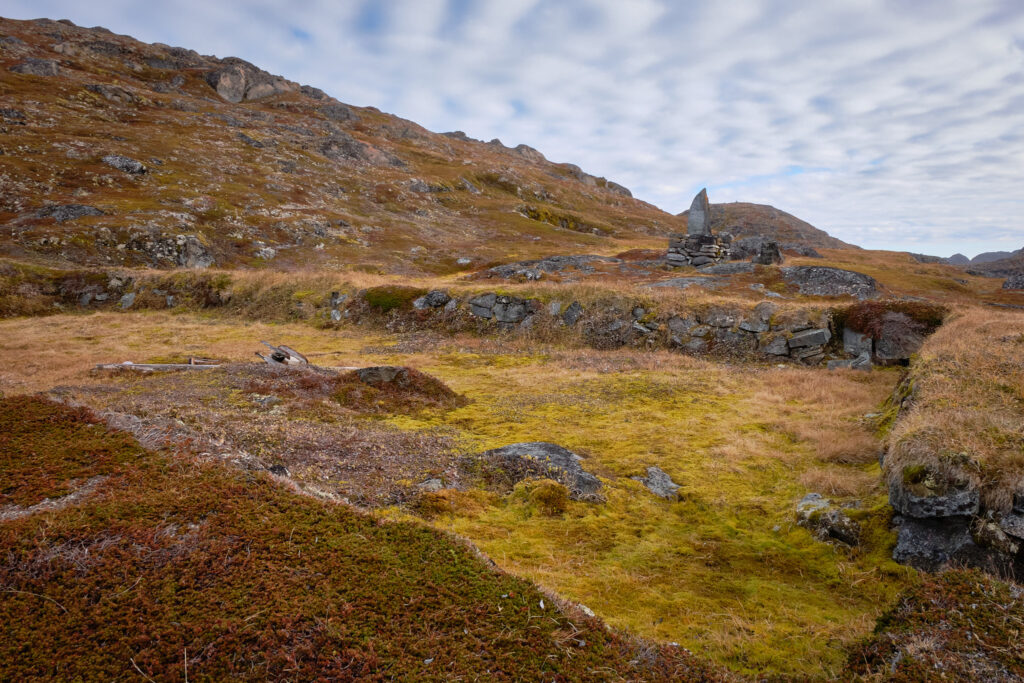 Remains of the foundations of the house of Hans Egede at Island of Hope near Nuuk-Greenland