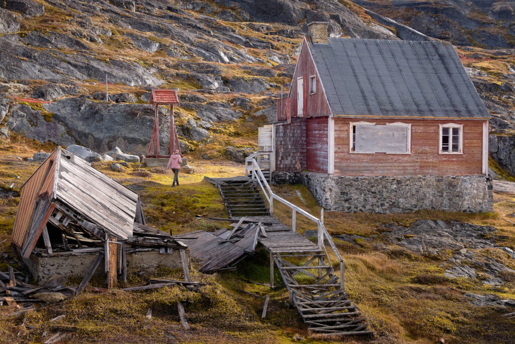 church and belltower at the abandoned settlement of Kangeq nearNuuk-Greenland