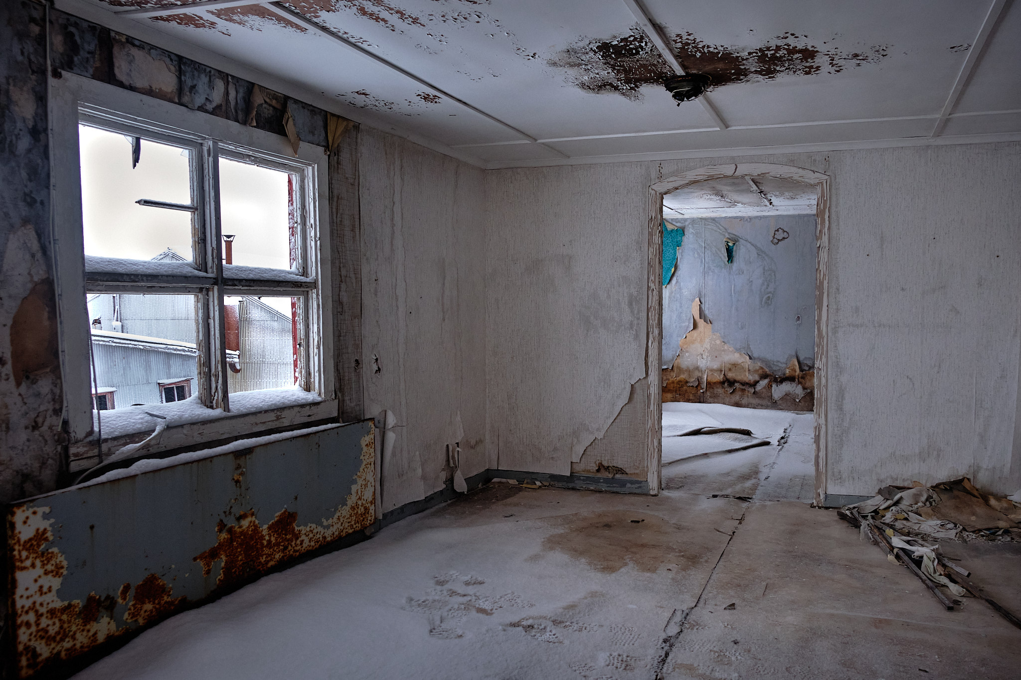 Inside admin building- Nordafar Abandoned fish factory near Nuuk