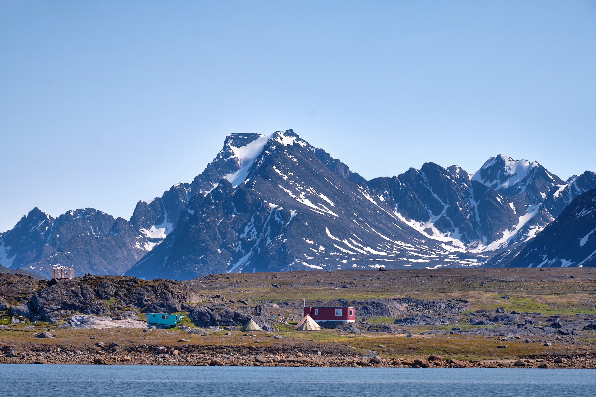 the camp at Sassannguit as seen from the water - Greenland