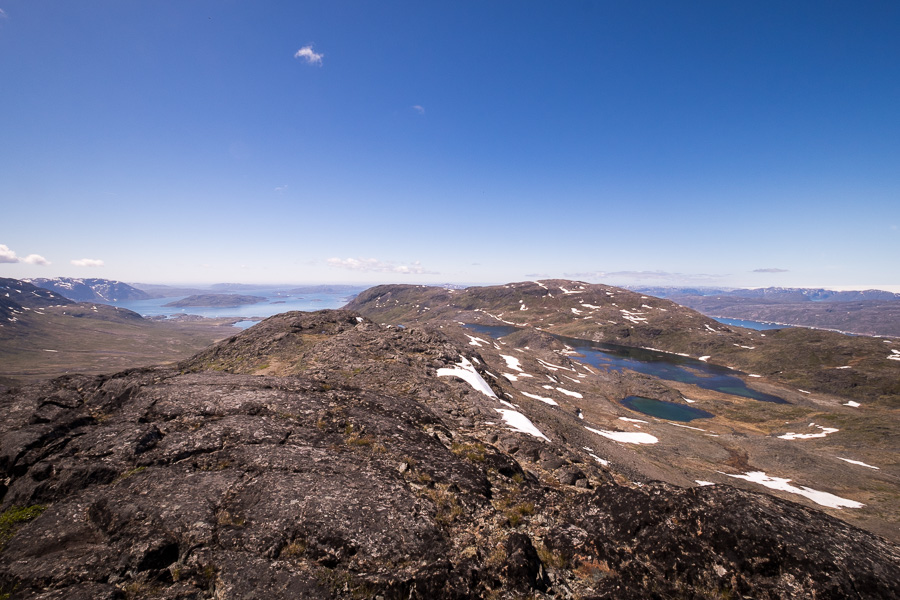 View from the Narsaq fjord and lakes from the summit of Kvanefjeld in South Greenland