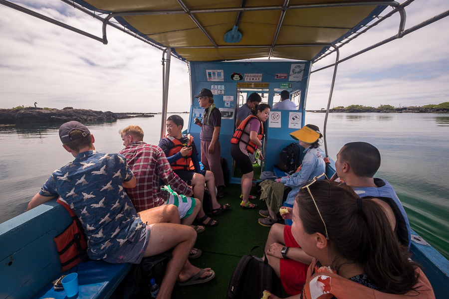 Our boat to Los Túneles was an open-sided affair