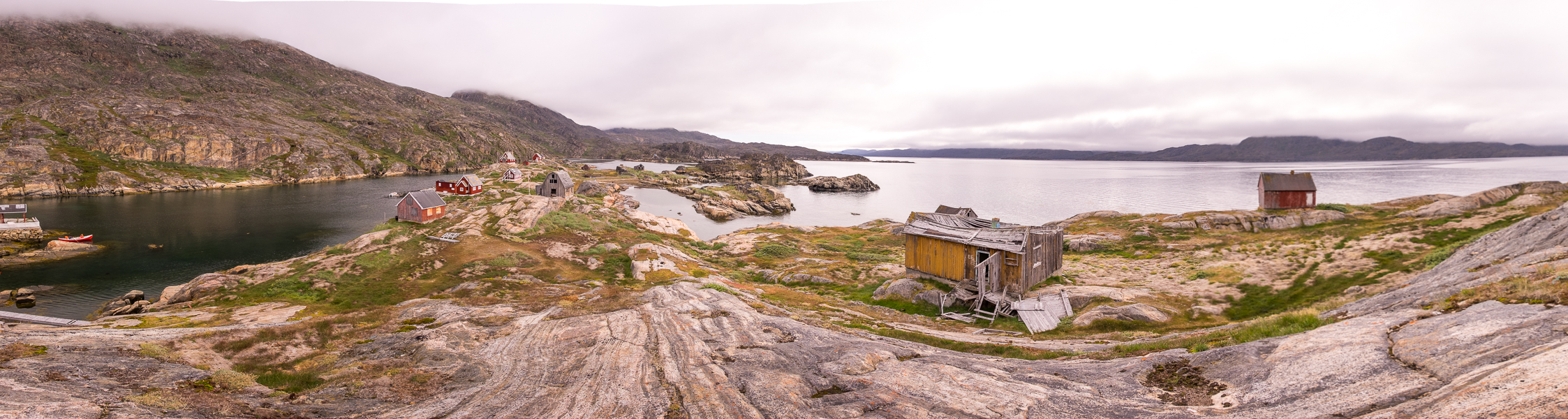 Panorama over Assaqutaq from one of the highest points on the island - Sisimiut - West Greenland