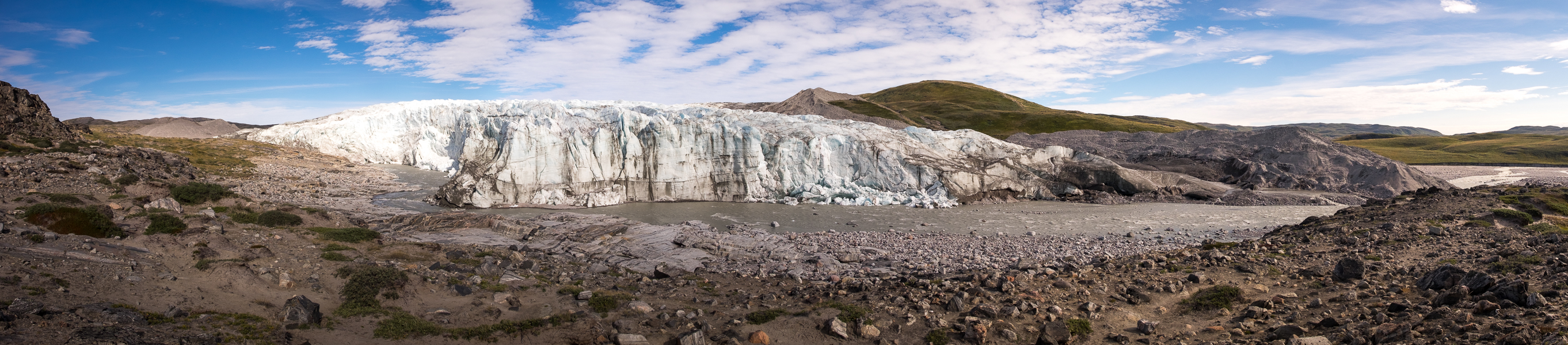 Panorama of the Russell Glacier near Kangerlussuaq, West Greenland