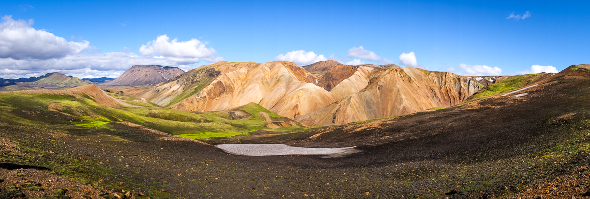 Panorama of the colourful Ljósártungur rhyolite mountains - Volcanic Trails - Central Highlands, Iceland