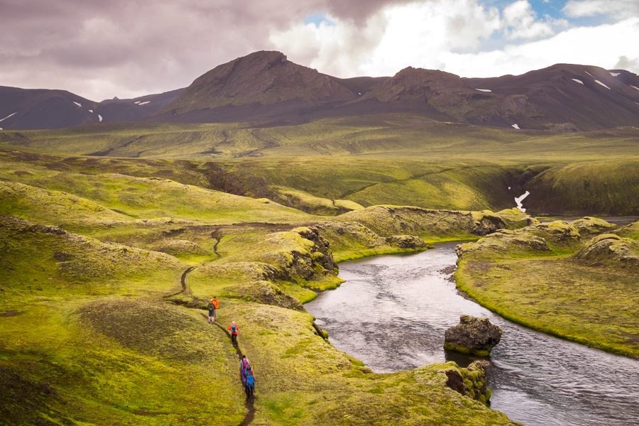Hiking along a river with the weather turning - Volcanic Trails - Central Highlands, Iceland