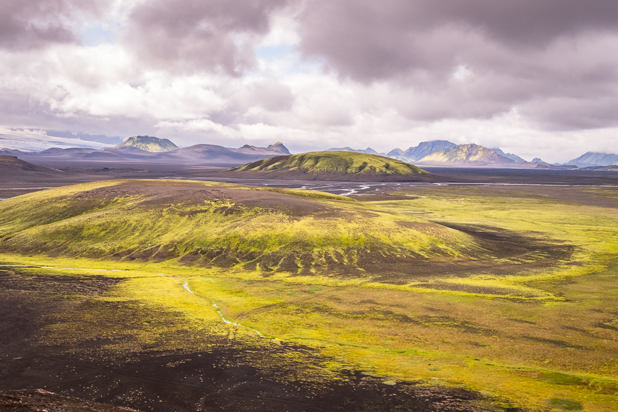 View into the next valley from the hill above our lunch on the black volcanic sands of Mýrdalssandur - Volcanic Trails - Central Highlands, Iceland