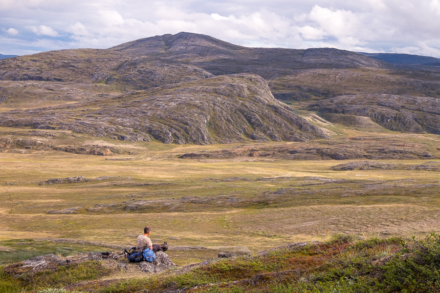 Rob looking for Musk Oxen from a high vantage point - Arctic Circle Trail - West Greenland