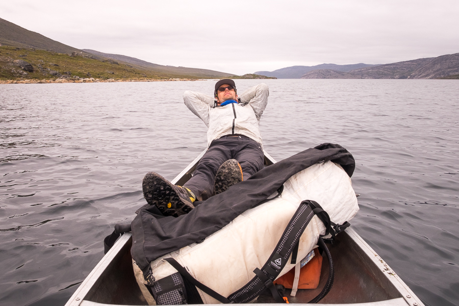 Tyson taking a break from paddling - Arctic Circle Trail - West Greenland