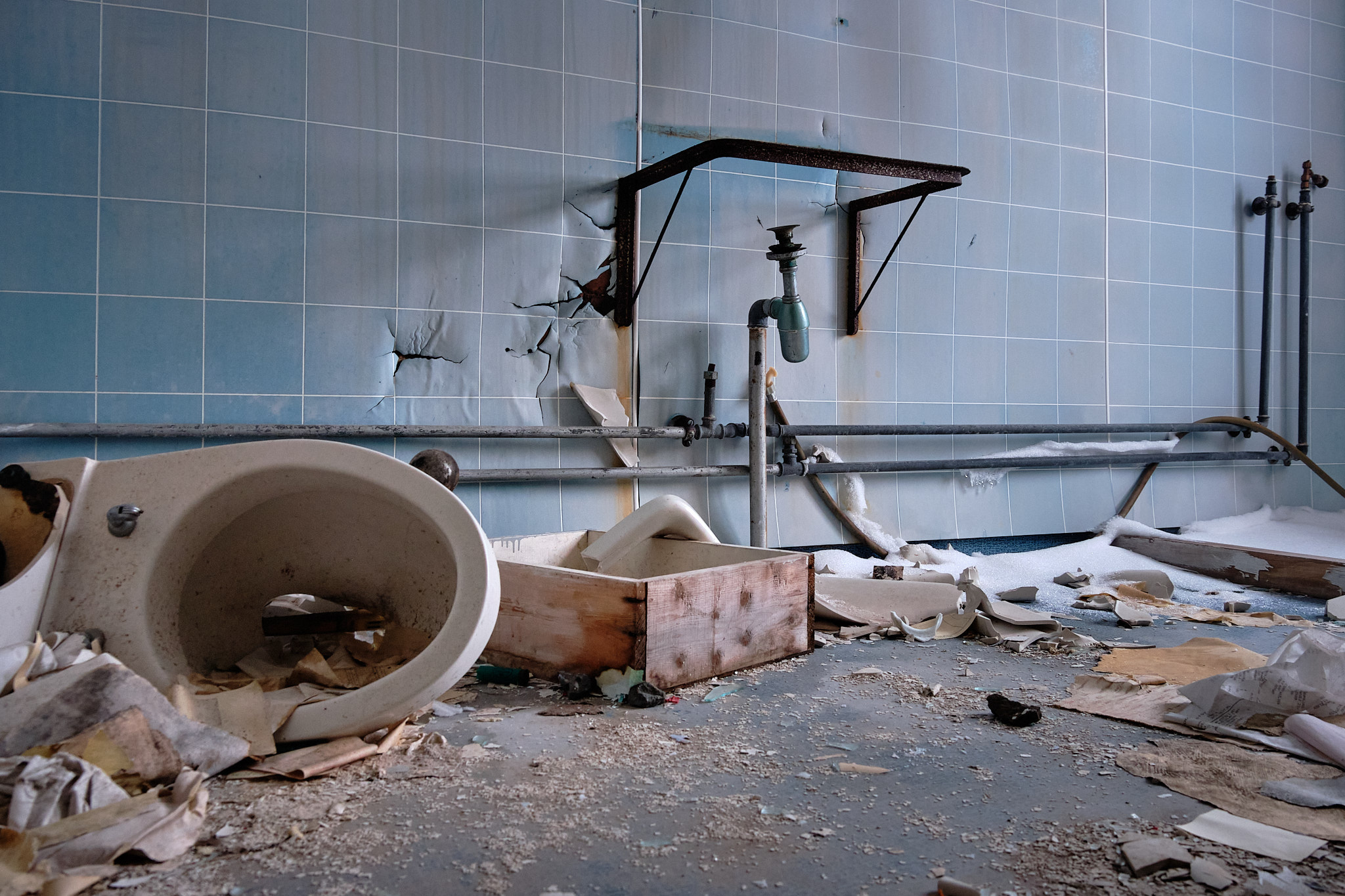Bathroom inside admin building -Nordafar Abandoned fish factory near Nuuk
