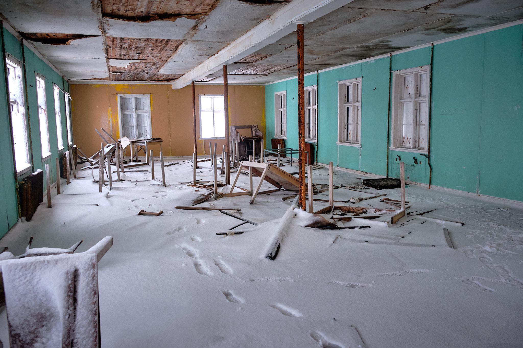 Inside Seamens Home dining room - Nordafar Abandoned fish factory near Nuuk