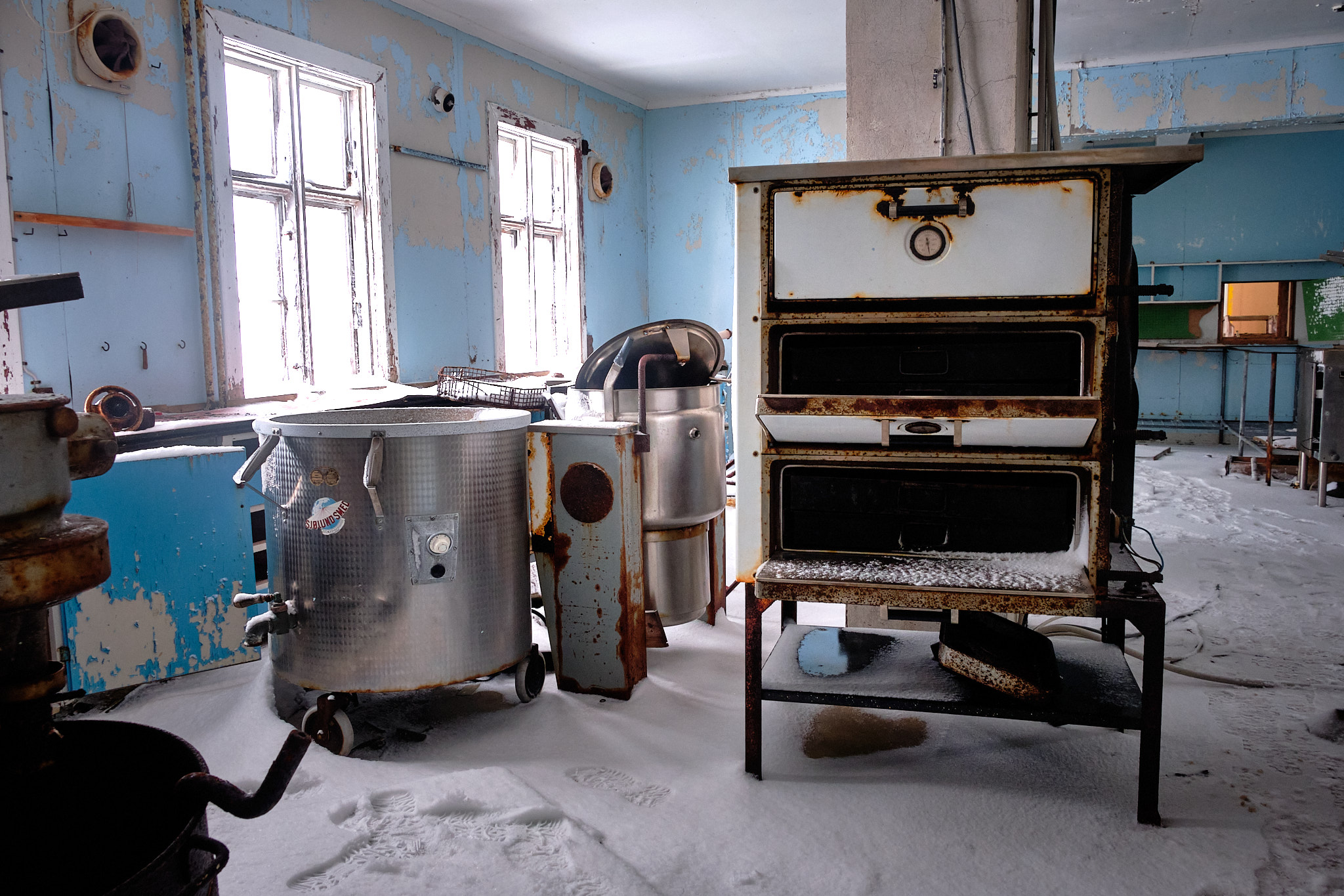 Inside Seamens home kitchen - Nordafar Abandoned fish factory near Nuuk