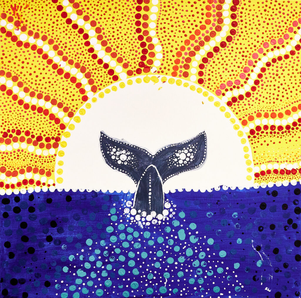 Whale Tail artwork in the Australian Aboriginal dot painting style by Greenlandic Students