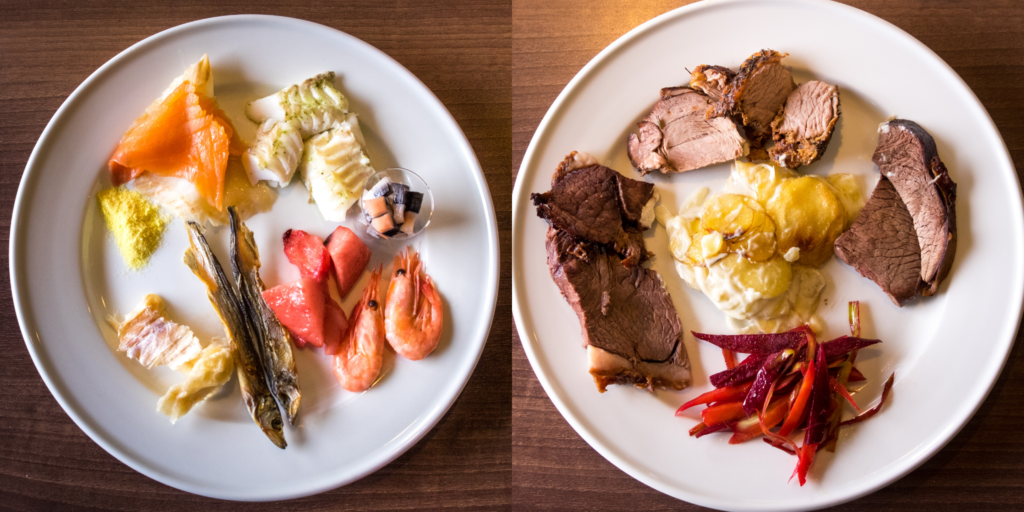 Traditional Greenlandic foods at the Hotel Sisimiut buffet